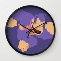 donkey kong Wall Clocks featuring Donkey Kong(Smash)Purple by ejgomez