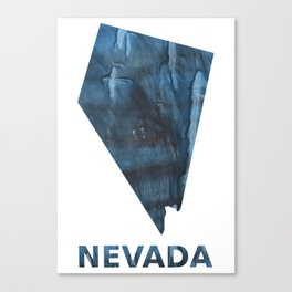 Nevada map outline Dark Gray Blue clouded watercolor pattern Canvas Print