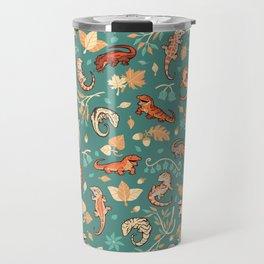 Autumn Geckos in green Travel Mug