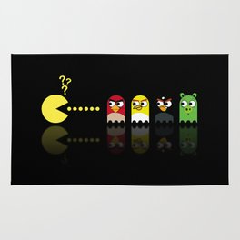 Pacman with Angry Birds Ghosts Rug