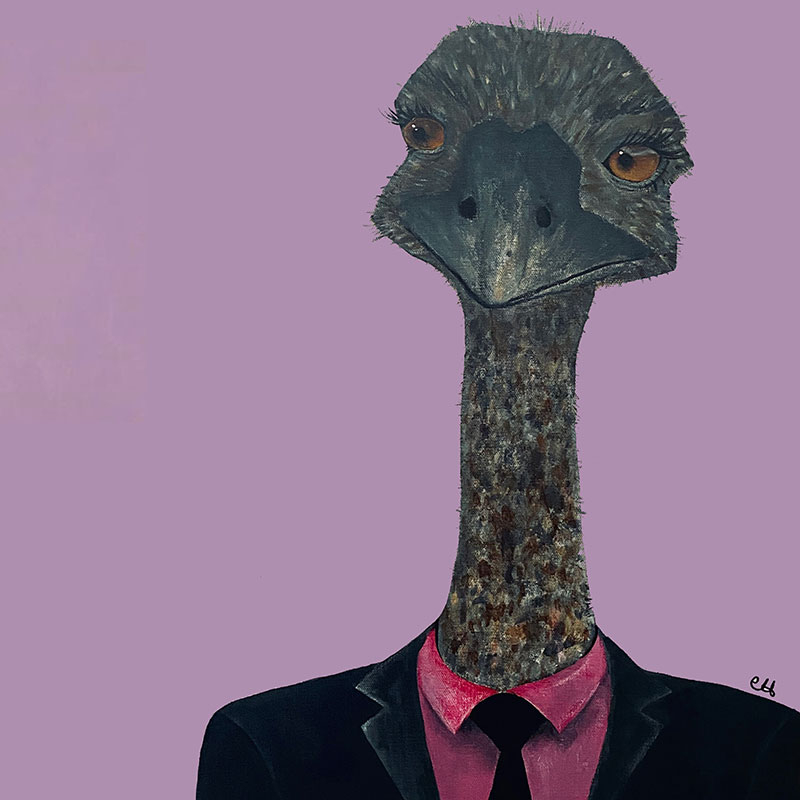painting of an ostrich wearing a suit with a red shirt and black tie