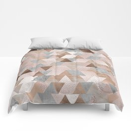 Copper and Blush Rose Gold Marble Triangles Comforters