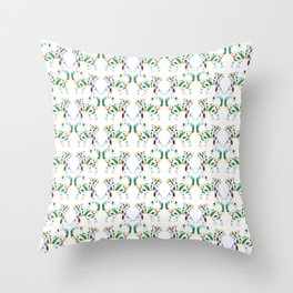 Whimsical Leafly Cat Throw Pillow