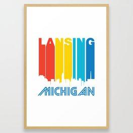 Retro 1970's Style Lansing Michigan Skyline Framed Art Print