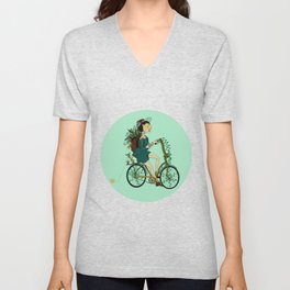 Girl with bicycle Pegas Unisex V-Neck