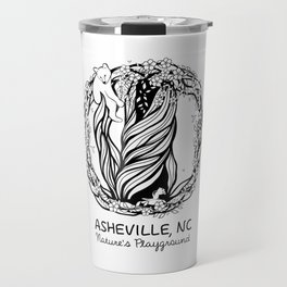 Asheville, NC T-Shirt - Black On White Travel Mug