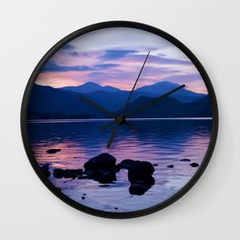 Loch Lomond At Dusk   Musical Crime Productions   Highland Photograph   Bonnie Banks of Loch Lomond Wall Clock