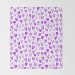Watercolor Hearts purple pantone love pattern design minimal modern valentines day Throw Blanket