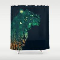 tiger Shower Curtains featuring Space Tiger by dan elijah g. fajardo