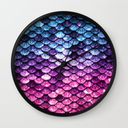 Mermaid Tail Pink Purple Blue Wall Clock