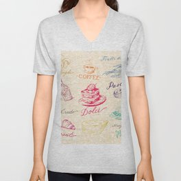 Chef Food Coffee Wine Unisex V-Neck