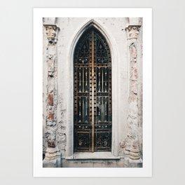 Old gothic door vault in Recoleta Cemetary in Buenos Aires, Argentina Art Print
