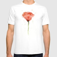Poppy Watercolor Abstract Red Flower Mens Fitted Tee White MEDIUM