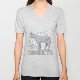 Easily Distracted By Donkeys Unisex V-Neck