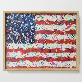Born on the 4th of July, US Confetti Flag Serving Tray
