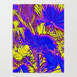 closeup palm leaf texture abstract background in blue pink and yellow Poster