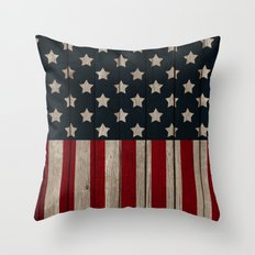 Patriotic Wood Texture #2 Throw Pillow