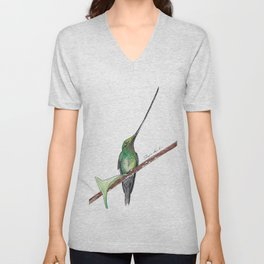 Sword Billed Humming Bird 2 Unisex V-Neck