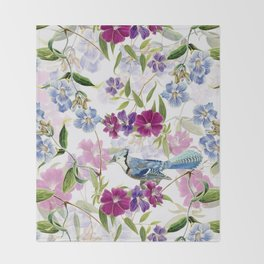Vintage & Shabby Chic - Blue Jay and Flowers Throw Blanket