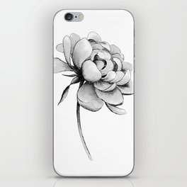Peony Flower, Black and White iPhone Skin