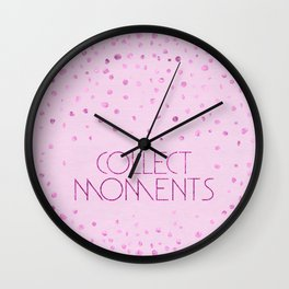 Text Art COLLECT MOMENTS | glittering pink Wall Clock