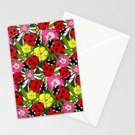 Colourful Ladybirds and Flowers Pattern Stationery Cards