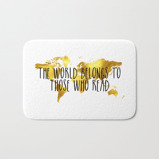 The World Belongs to those Who Read - Gold Bath Mat