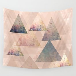 Pastel Abstract Textured Triangle Design Wall Tapestry