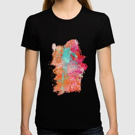 Paint Splatter Turquoise Orange And Pink T-shirt