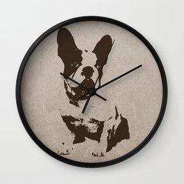 FRENCH BULLDOG IN SEPIA Wall Clock