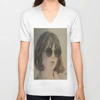 allyson johnson V-neck T-shirts featuring DAKOTA JOHNSON by Virginieferreux
