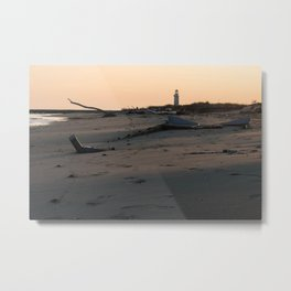 Italy Lighthouse Sunset Porto Tolle Metal Print