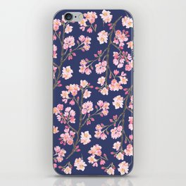Cherry Blossom Pattern on Navy iPhone Skin