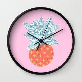 Flower Vase on Pink Wall Clock