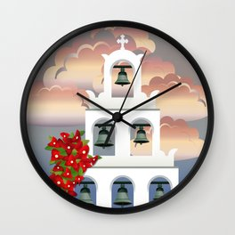 Island Santorini sunset White belfry with bougainvillea from Greece Wall Clock