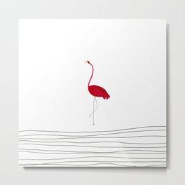 Flamingo Flying Solo Metal Print