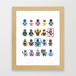 Nostalgic Retro gaming pixel tokusatsu sentai heroes. Framed Art Print