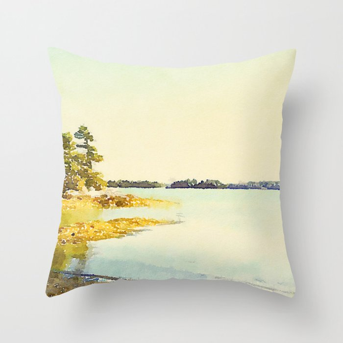Wolfe's Neck State Park, ME Throw Pillow