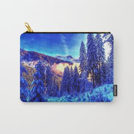 morning, forest, trees, colors, awakening, winter, light Carry-All Pouch