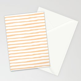 Modern Coral Stripes Stationery Cards