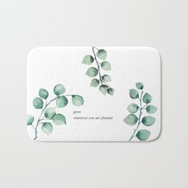 Grow wherever you are planted watercolor florals Bath Mat