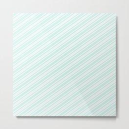 Vintage elegant pastel green white stripes Metal Print