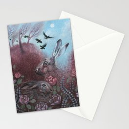 Hares and Crows Stationery Cards