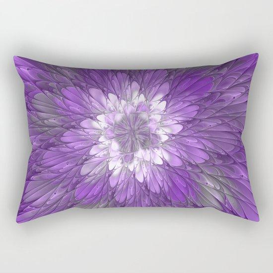 Psychedelic Purple Flower, Fractal Art Rectangular Pillow