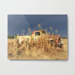 Rainbow Behind The Old Car In The Dry And Dusty Paddock Metal Print