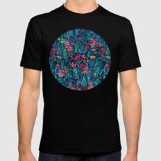 Tropical Ink - a watercolor garden Black Mens Fitted Tee MEDIUM