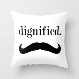 dignified mustache Throw Pillow