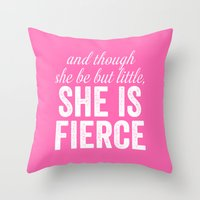 though she be but little Throw Pillows featuring And Though She Be Little by KOLESON