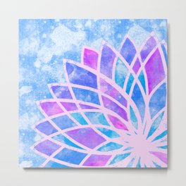 Blue Stained Glass Lotus Metal Print
