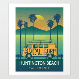 Huntington Beach Surf Van Surfing Shirt Art Print